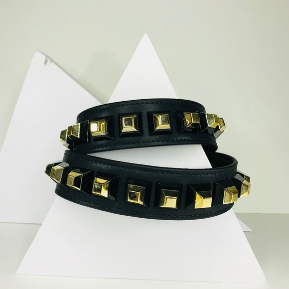 Closet Rehab Handbags - Black Bag Strap with Black and Gold Square Rivets